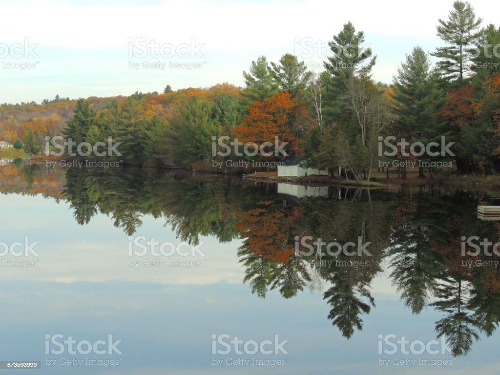 Mill Lake Mirror Image stock photo