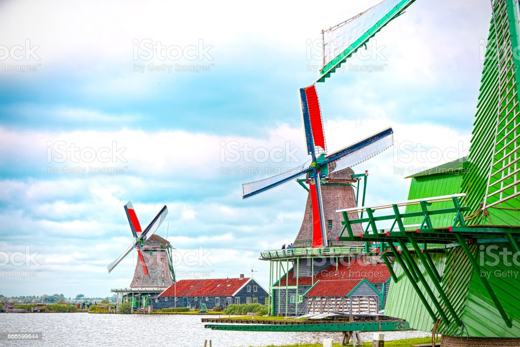 Mill of Zaandam, Netherlands stock photo
