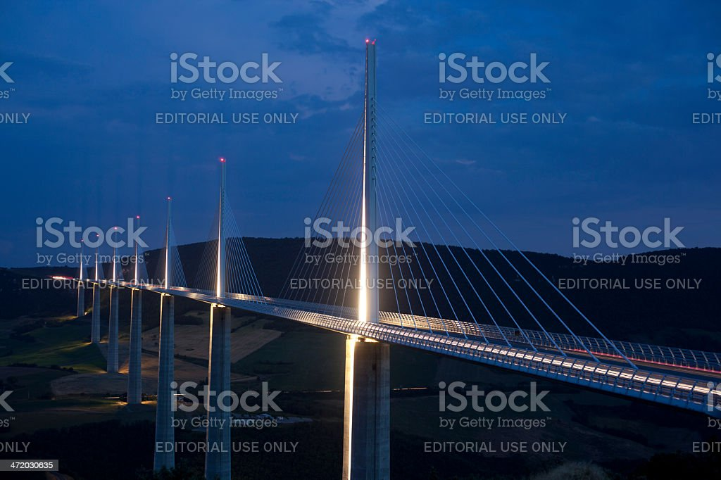 Millau bridge at Night - France stock photo