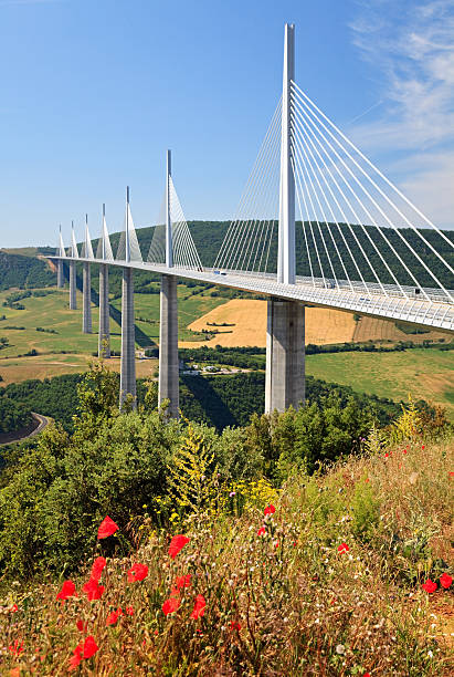 Millau Bridge, France stock photo