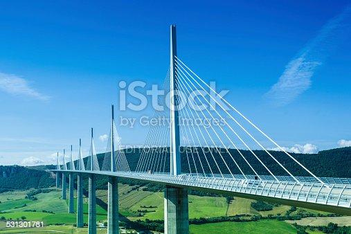 Milleau, France - August 21, 2014: Millau bridge, tallest bridge in the world, Millau viaduct is in Averon, France.