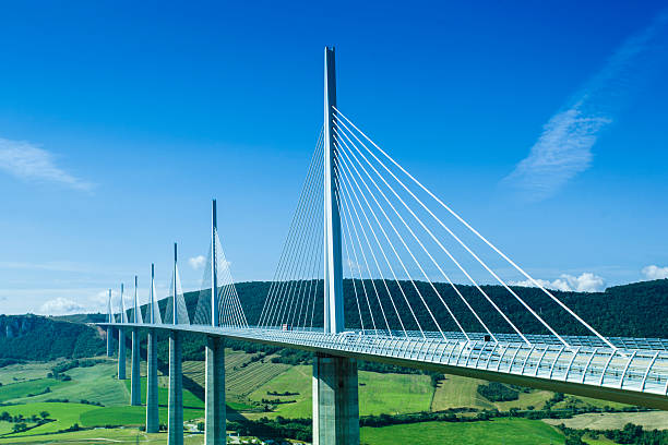 Millau bridge in France in a summer day. stock photo