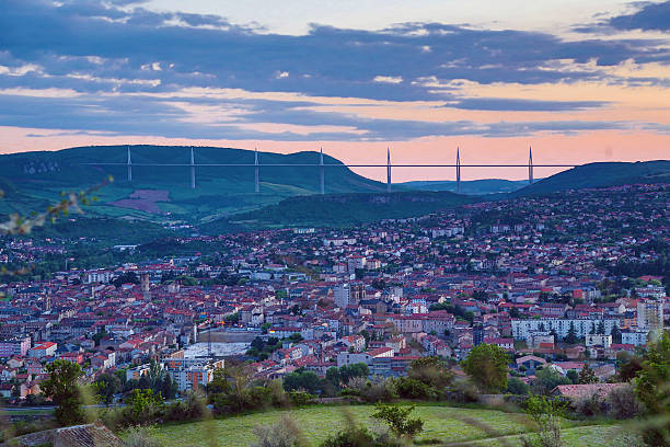 Millau et son viaduc panorama stock photo