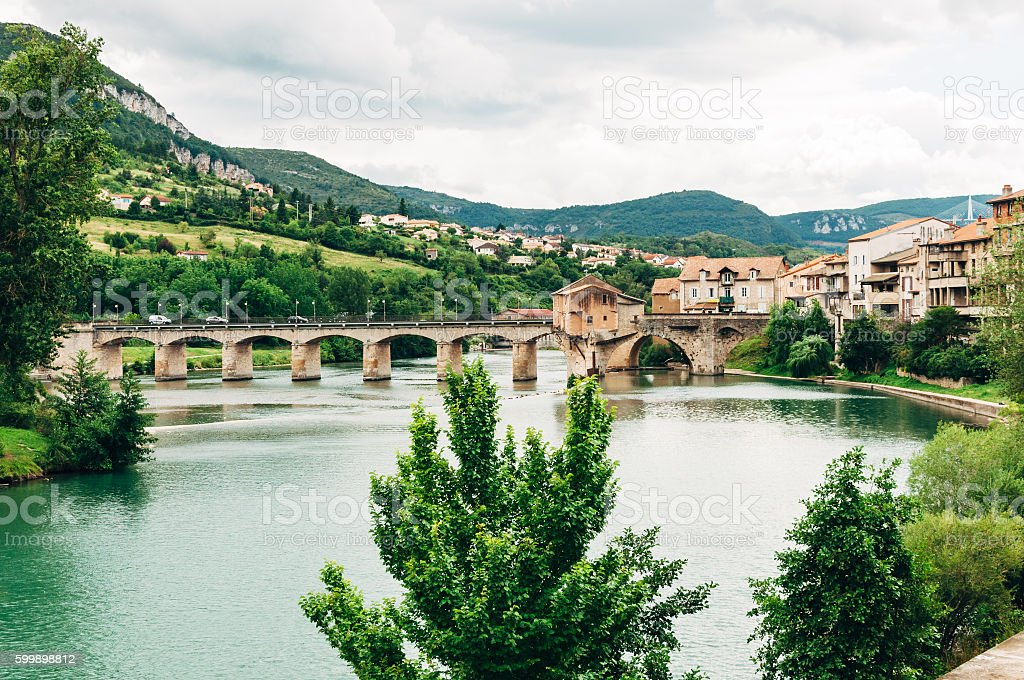 Millau, on the River Tarn, in southern France. stock photo