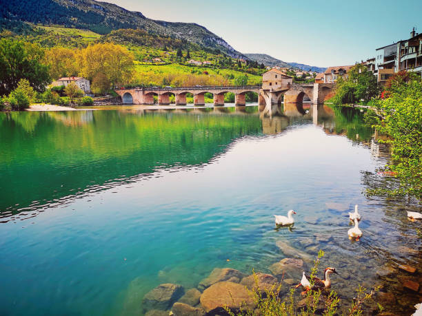 Millau, on the Tarn River, France stock photo