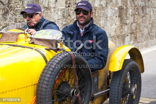 San Casciano Italy - May 17, 2013: Mille Miglia 2013 Old Bugatti car   Mille Miglia race in while you move from San Casciano