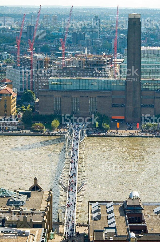 Millenium Bridge and Tate Modern, London stock photo