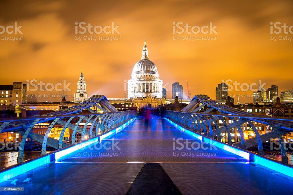 Millenium bridge at night stock photo