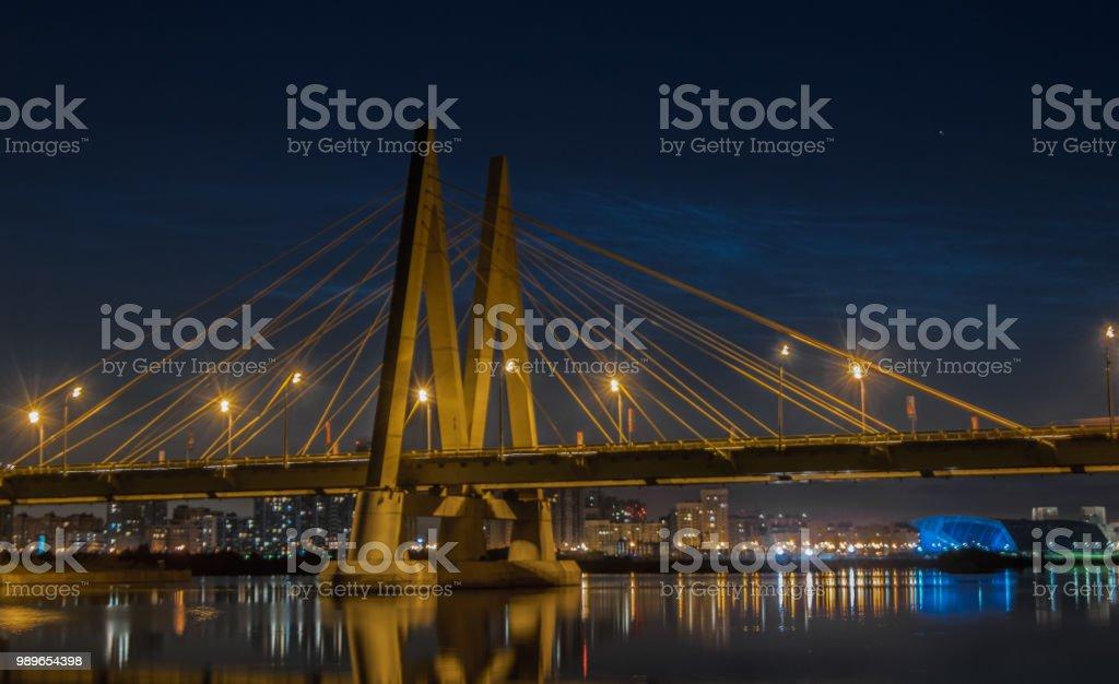 Millenium bridge in Kazan, reflected in the waters of the river Kazanka. Russia stock photo