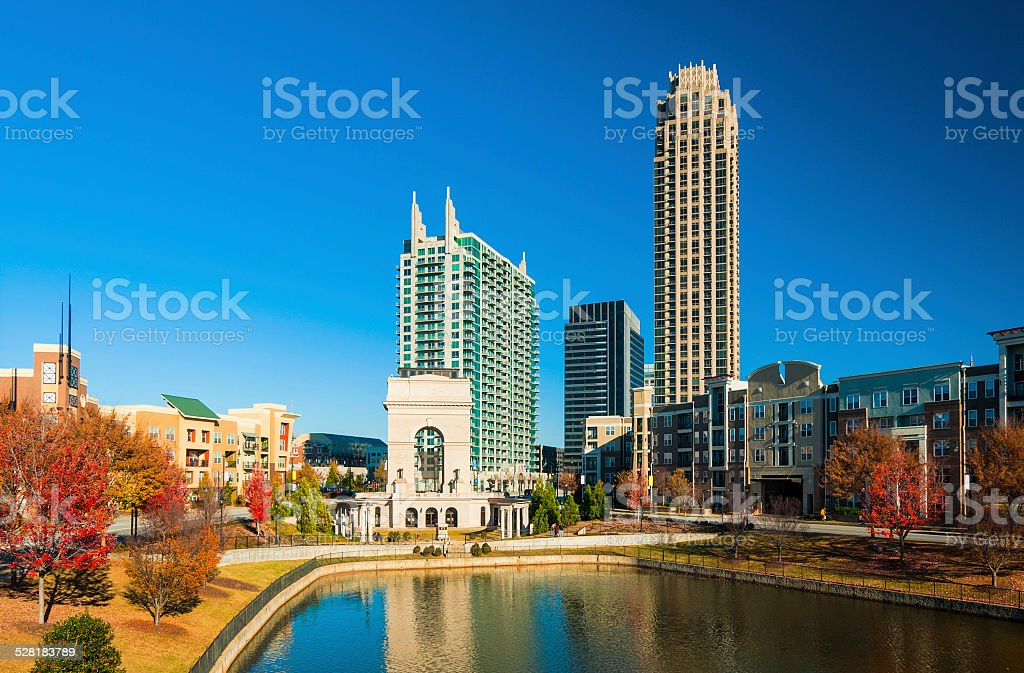 Millenium Gate and Autumn Scene in Midtown Atlanta stock photo