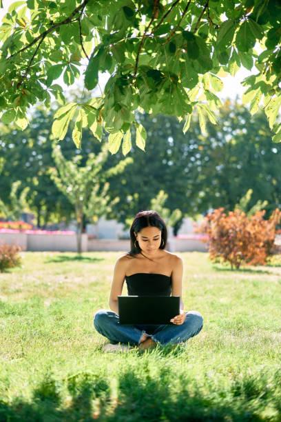 公園の草の上に座ってラップトップに取り組んでいるミレニアル世代のアフロの女の子 - gen z ストックフォトと画像