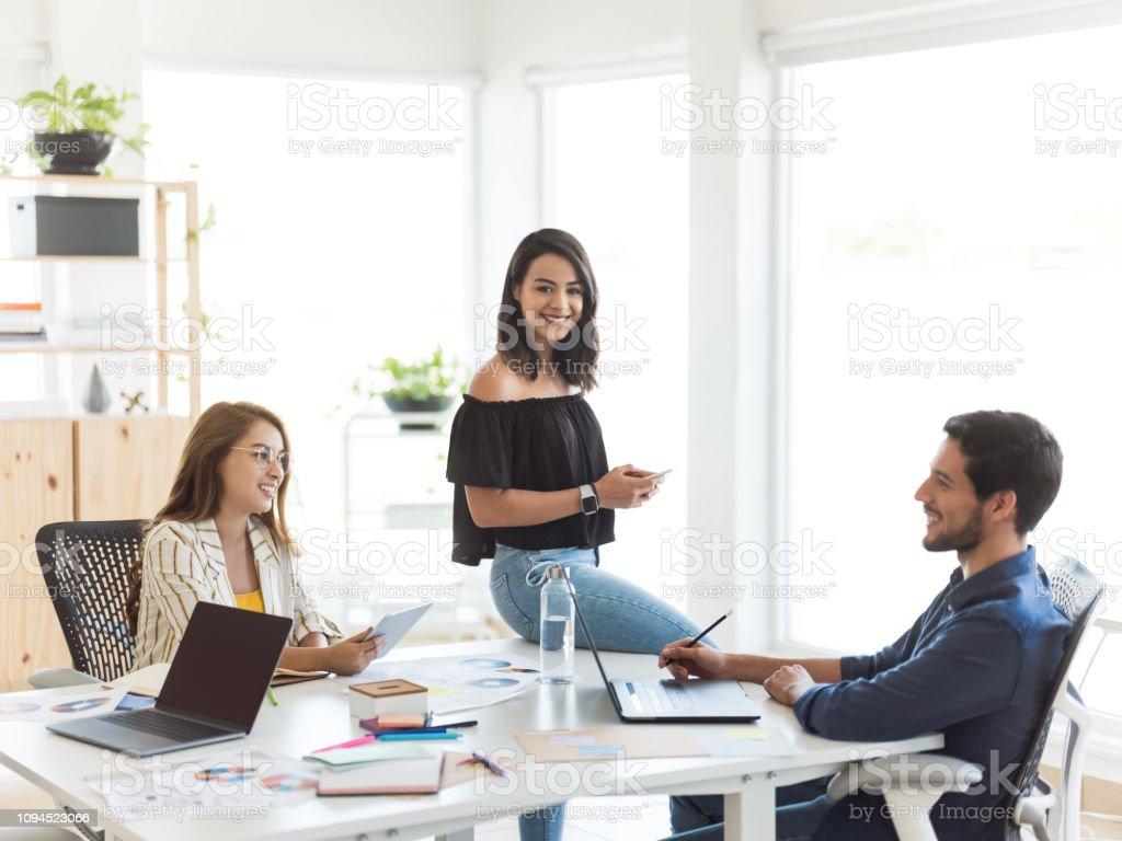 Millennial business teamwork group stock photo