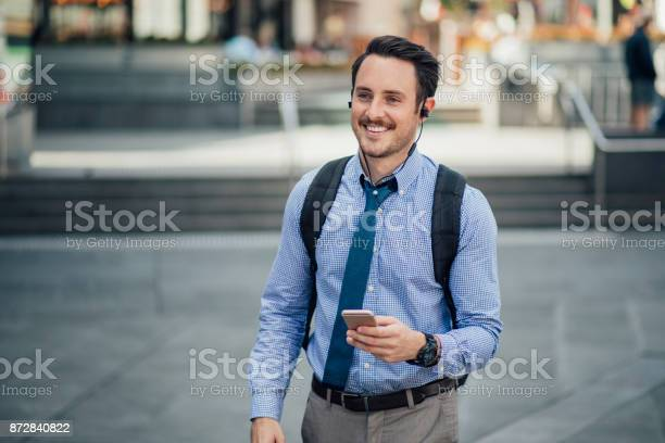Millennial Businessman Commuting In Melbourne Stock Photo - Download Image Now