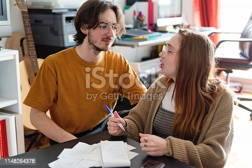 Real millennial couple of students sharing life and resources in daily life. They are trying to balance their monthly budget. Both are wearing clothes in warm tones. Horizontal waist up indoors shot with copy space.