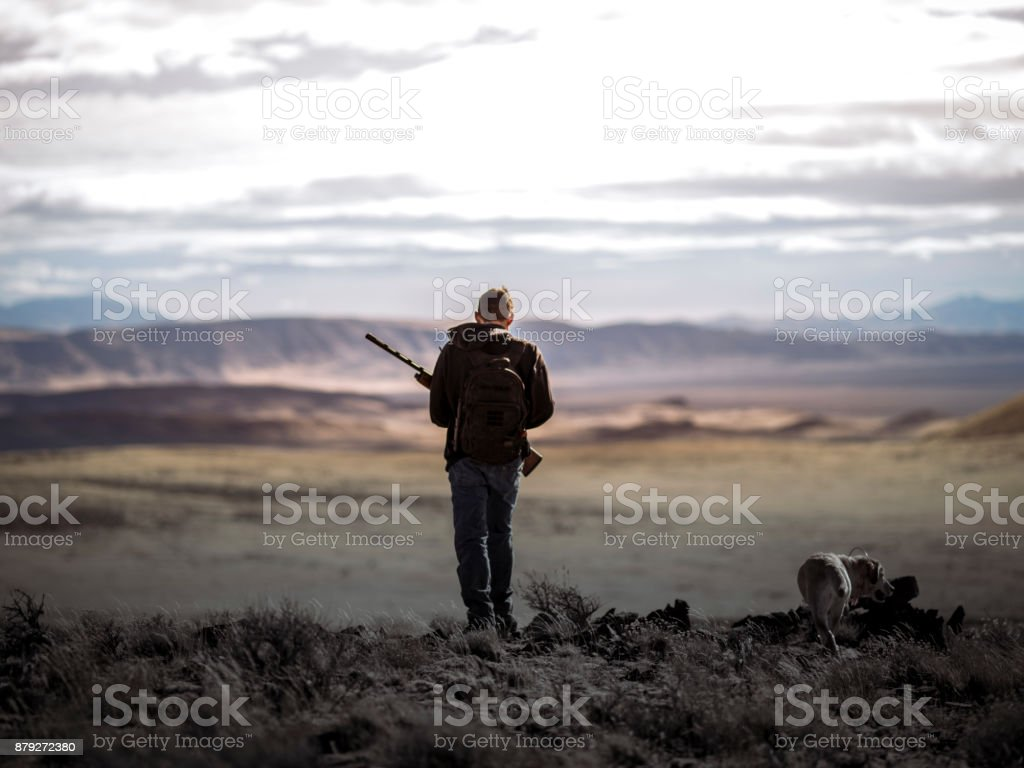 Millennial Hunter with a Yellow Lab hunting dog walking in the rugged Nevada desert. stock photo
