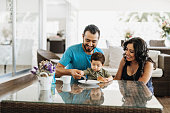 Latino family enjoys weekend together with grandparents and children.
