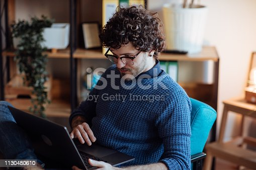 Millennial working from home office