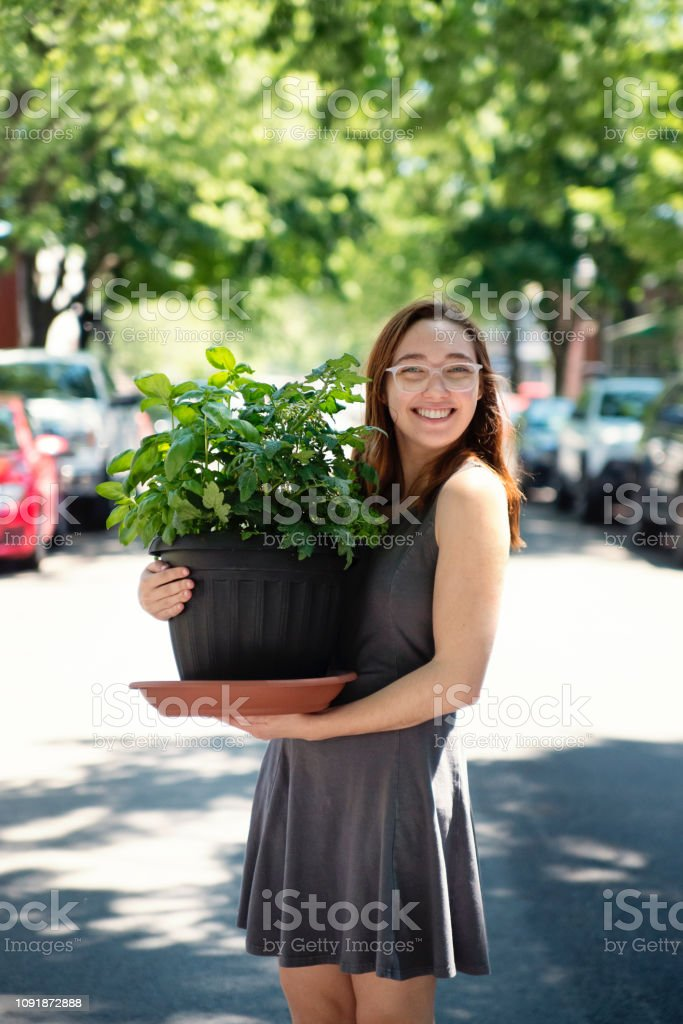 Millennial young woman moving a plant in new apartment. stock photo