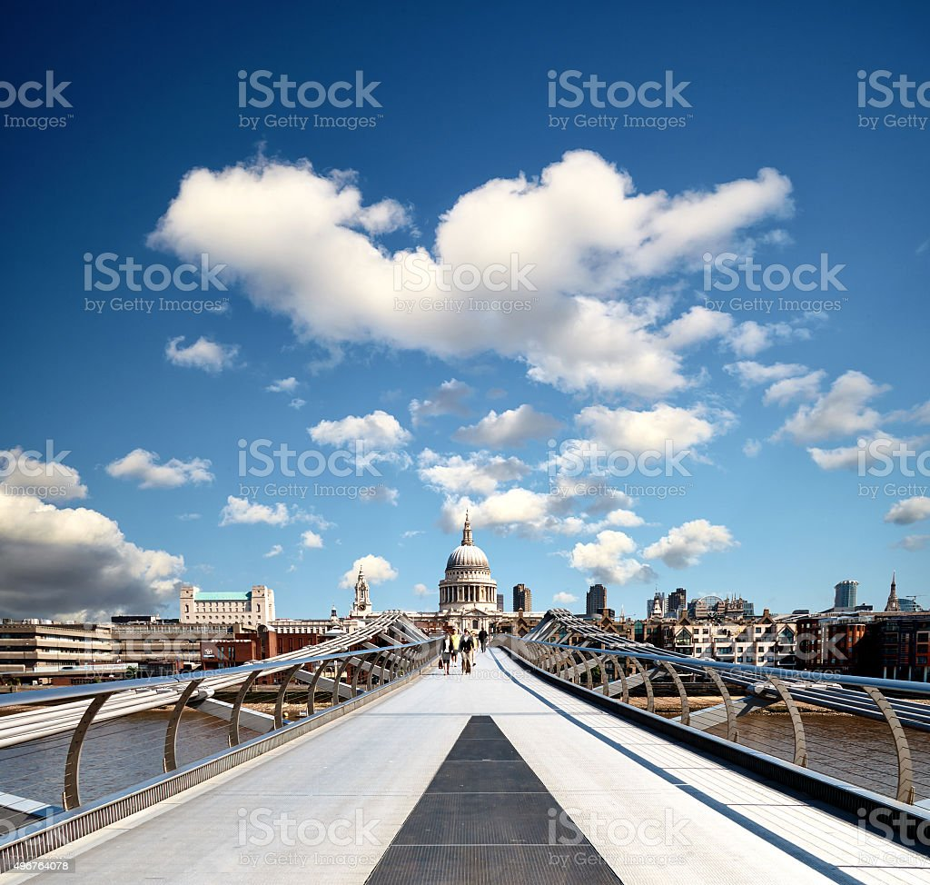 Millennium Bridge And St Paul's Cathedral stock photo