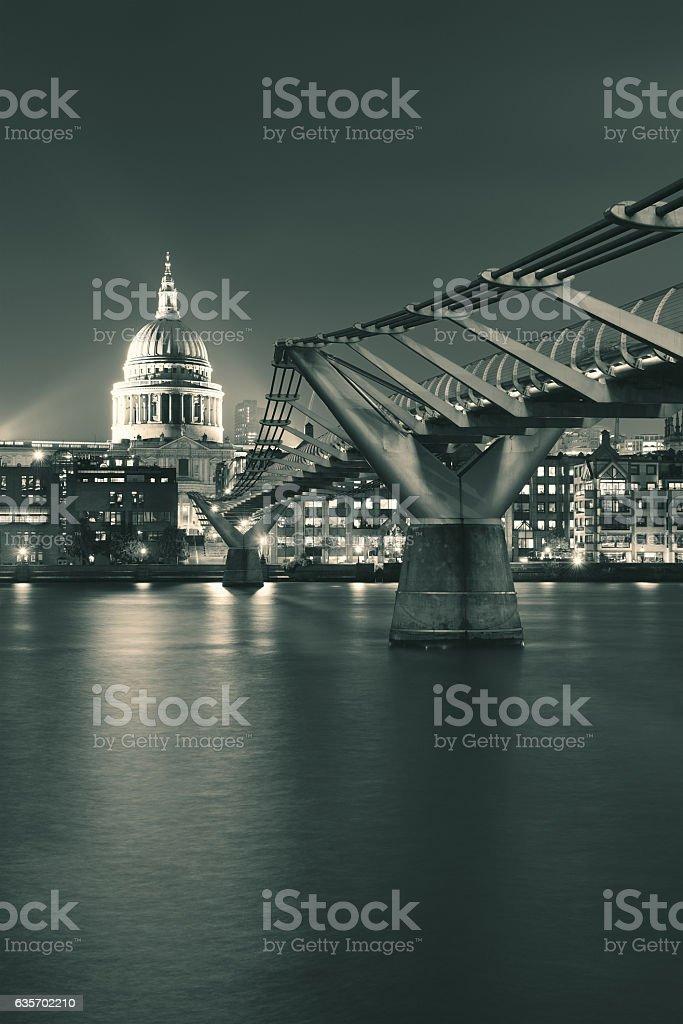 Millennium Bridge and St Pauls royalty-free stock photo