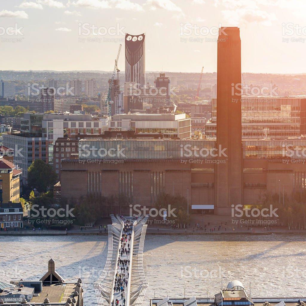 Millennium Bridge and Tate Modern at sunset stock photo