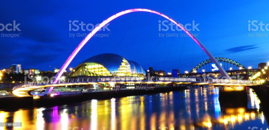 Millennium Bridge at Newcastle Quayside at Night stock photo