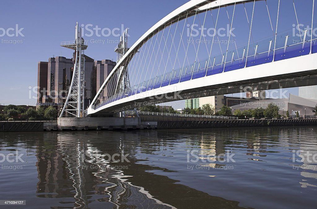 Millennium bridge at Salford Quays royalty-free stock photo