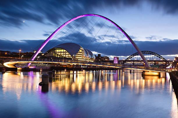 millennium bridge in gateshead - gateshead stock photos and pictures