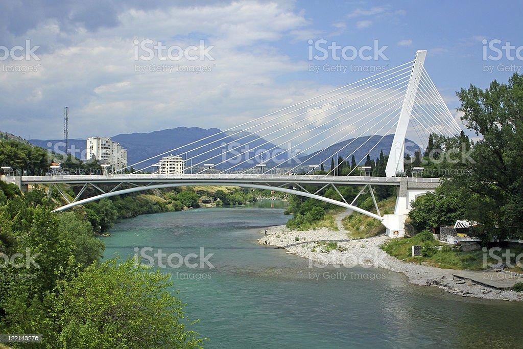 Millennium bridge in Podgorica stock photo