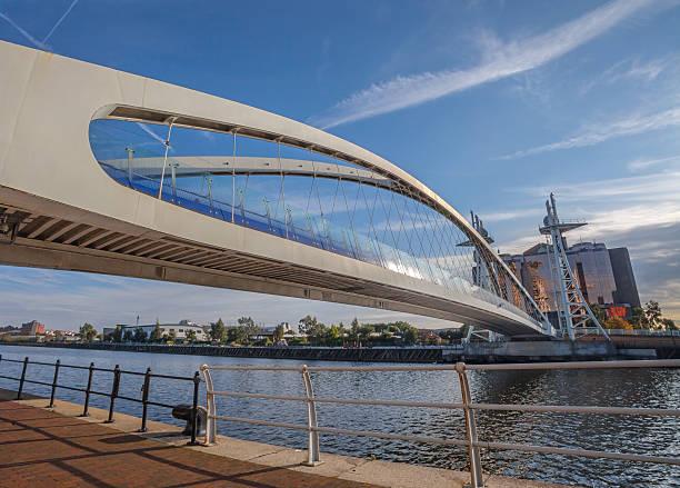 Millennium Bridge Lowry Centre, Salford Quays. stock photo