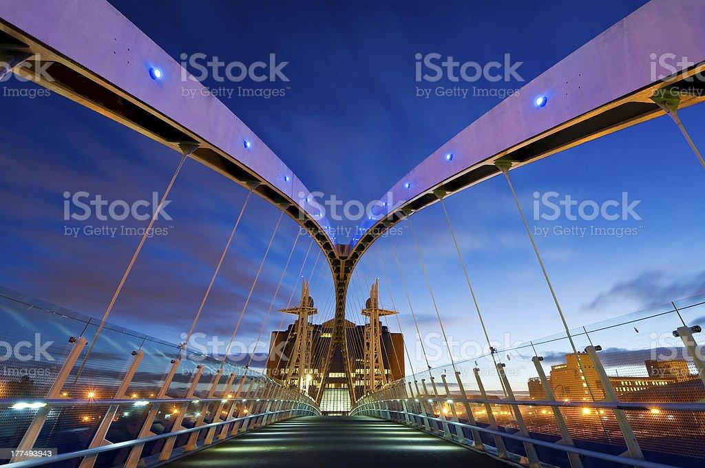 millennium bridge manchester from inside stock photo
