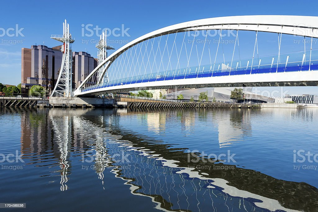 Millennium Bridge, Salford Quays, Manchester royalty-free stock photo