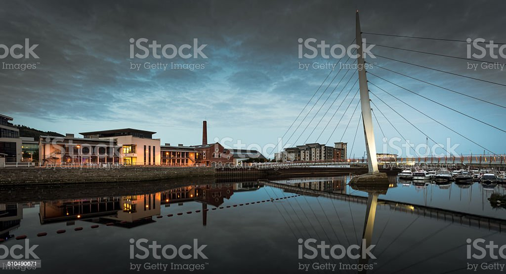 Millennium bridge Swansea stock photo