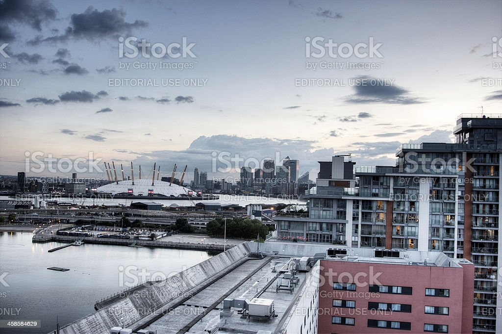 Millennium dome and Canary Wharf at sunset stock photo