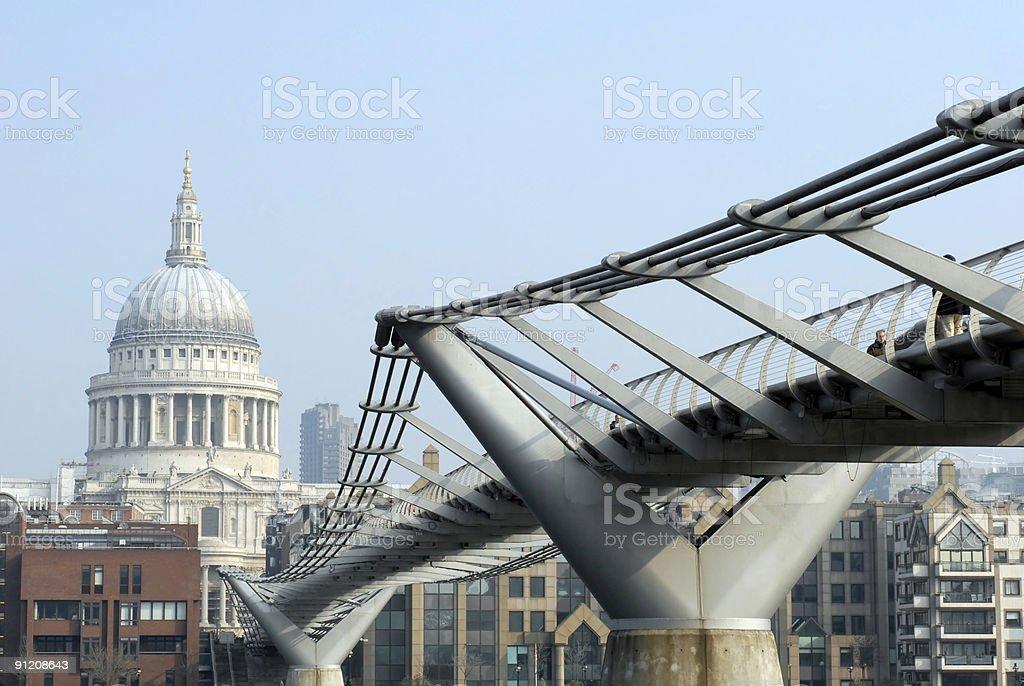 Millennium Footbridge in London stock photo