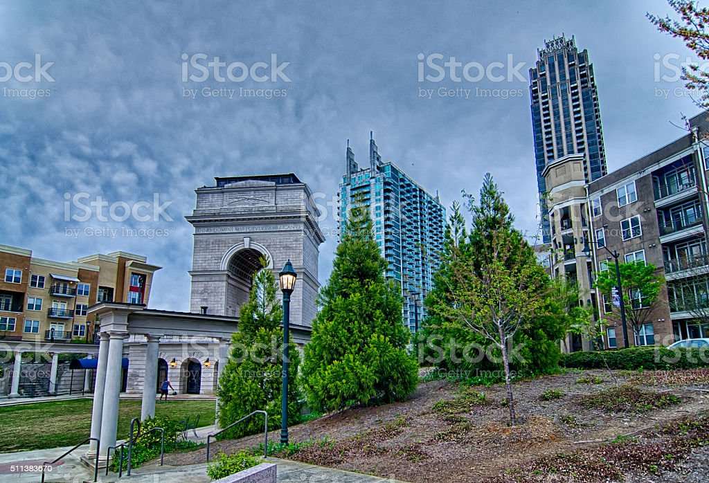 Millennium Gate triumphal arch at Atlantic Station in Midtown At stock photo