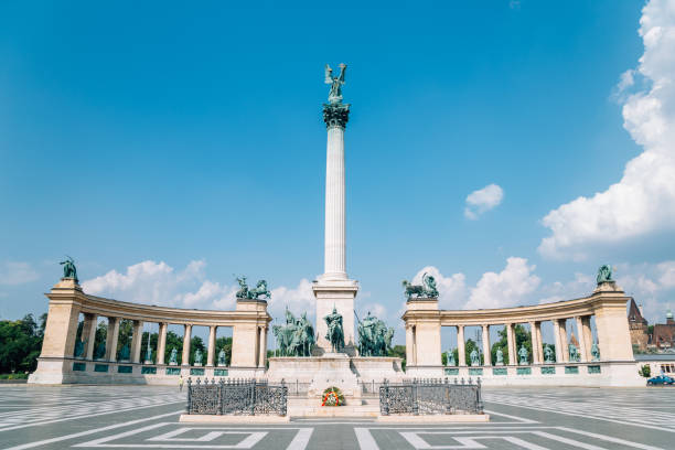 Millennium Monument at Heroes' Square in Budapest, Hungary stock photo