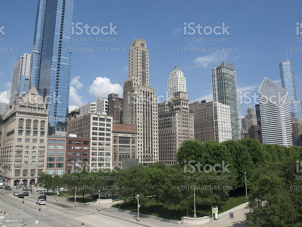 Millennium Park and Chicago Skyline royalty-free stock photo