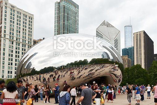 istock Millennium Park, Chicago featuring the Cloud Gate sculpture. Also known as the Bean. 855322766