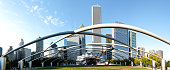 Chicago, Illinois, USA - October 2, 2011: Panorama view of the Jay Pritzker Pavilion in Millennium Park in downtown Chicago, Illinois USA.