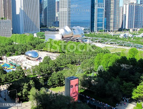 Wide angle view of Millennium Park, taken from University Club in Chicago's Loop