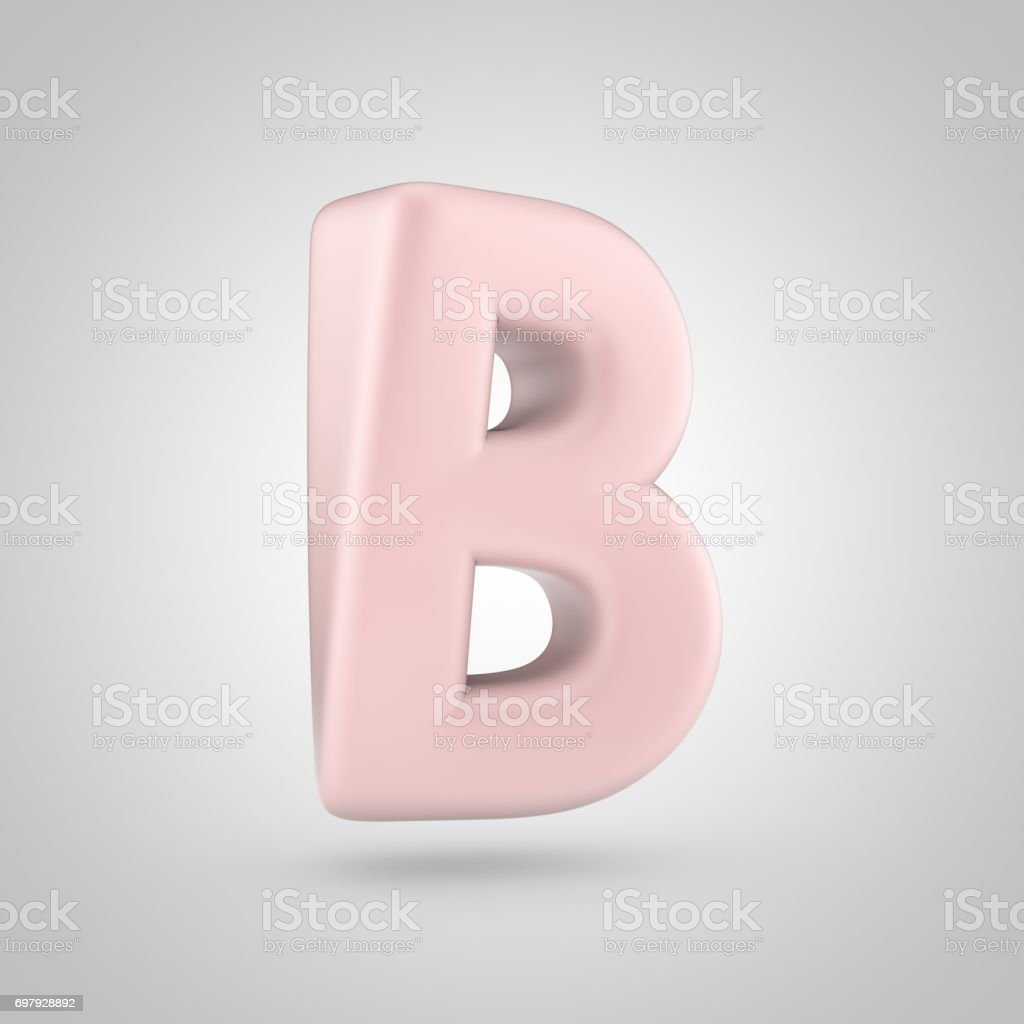 Millennium Pink Color Letter B Uppercase Isolated On White