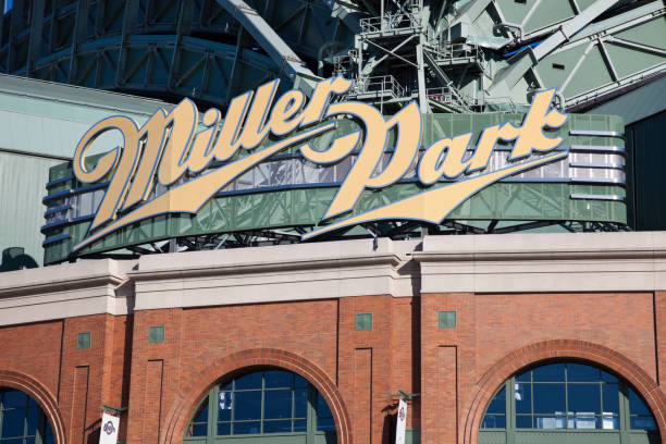 Miller Park in Milwaukee Milwaukee, Wisconsin, USA - August 24, 2011: Miller Park stadium seen during summer afternoon. Miller Park was built in 2001 and is a home for Milwaukee Brewers. The capacity of the stadium is 41,900. milwaukee brewers stock pictures, royalty-free photos & images