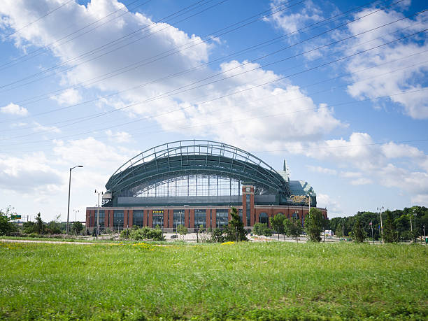 Miller Park in Milwaukee Milwaukee, Wisconsin, USA - July 10, 2013: View of the Miller Park in Milwaukee, Wisconsin. Miller Park is a MLB ballpark and home to the Milwaukee Brewers. Day shoot. milwaukee brewers stock pictures, royalty-free photos & images
