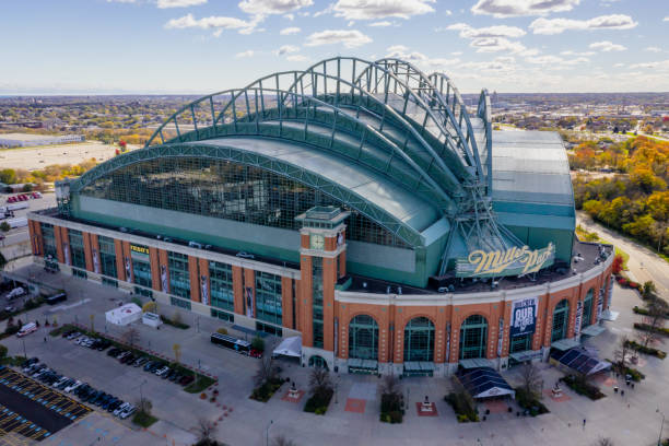 Miller Park Milwaukee - Aerial View Milwaukee, Wisconsin, USA - October 23, 2018: aerial view of the Miller Park stadium in Milwaukee, Wisconsin. Miller Park is a major league baseball stadium and a home of the Milwaukee Brewers. miller park stock pictures, royalty-free photos & images