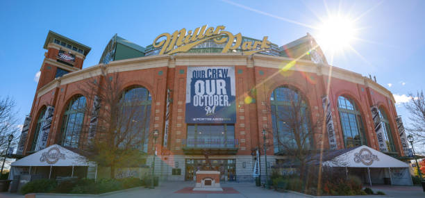 Miller Park Milwaukee - Front View Milwaukee, Wisconsin, USA - October 23, 2018: the front view of the Miller Park stadium in Milwaukee, Wisconsin. Miller Park is a major league baseball stadium and a home of the Milwaukee Brewers. miller park stock pictures, royalty-free photos & images