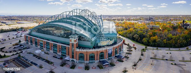 Milwaukee, Wisconsin, USA - October 23, 2018: Panoramic aerial view of the Miller Park stadium in Milwaukee, Wisconsin. Miller Park is a major league baseball stadium and a home of the Milwaukee Brewers.