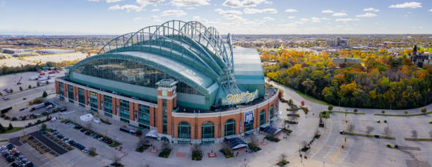 Miller Park Milwaukee - Panoramic View Milwaukee, Wisconsin, USA - October 23, 2018: Panoramic aerial view of the Miller Park stadium in Milwaukee, Wisconsin. Miller Park is a major league baseball stadium and a home of the Milwaukee Brewers. miller park stock pictures, royalty-free photos & images