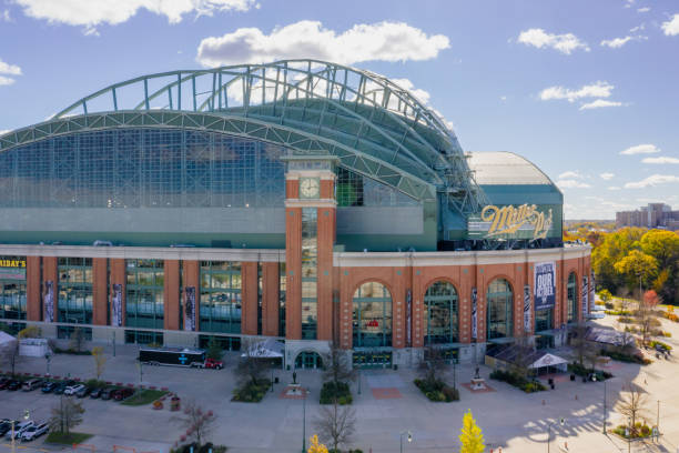 Miller Park Milwaukee Milwaukee, Wisconsin, USA - October 23, 2018: front-side view of the Miller Park stadium in Milwaukee, Wisconsin. Miller Park is a major league baseball stadium and a home of the Milwaukee Brewers. miller park stock pictures, royalty-free photos & images