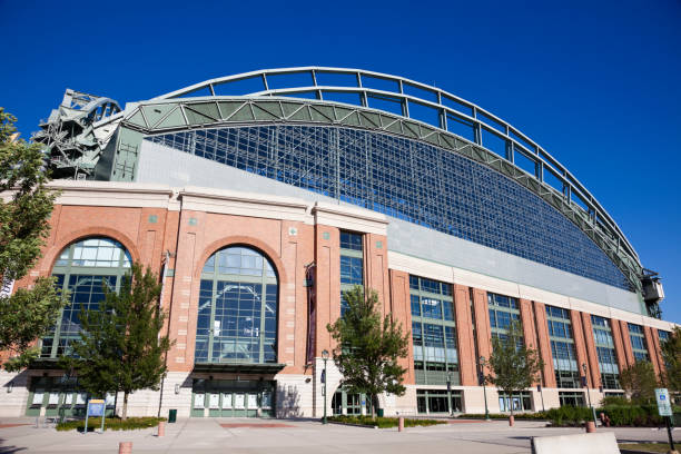 Miller Park Milwaukee, Wisconsin, USA - August 24, 2011: Miller Park seen with blue sky seen during cloudless summer day. Miller Park was built in 2001 and is a home for Milwaukee Brewers. The capacity of the stadium is 41,900. milwaukee brewers stock pictures, royalty-free photos & images